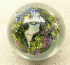 SIGNED SIMPSON INHABITED PLANET ART GLASS PAPERWEIGHT 710 1990