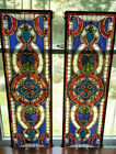 Vintage Stained Glass Pair Blues  Reds