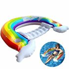 SIENON Float Rainbow Pool Lounger Inflatable Chair Floats with 2 Cup Holders