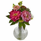 Nearly Natural Peony And Mum In Glass Vase Arrangement Floral Home Decoration