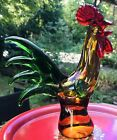 Vintage Murano Art Glass Amber Sommerso Rooster Chicken Statue on Pedastal 6