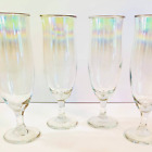 Iridescent Tall Tulip Shaped Wine Glass with Gold Trim