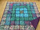 Batik Jewel Tone Rag Style Quilt 60x60 with Set of 2 18x 18 Pillow Covers