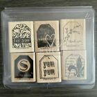 Stampin Up Too Terrific Tags Set of 6 Wooden Rubber Stamps Fleur De Lis Heart