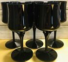 5 MCM Hand Blown Royal Song R2J2 Water Wine Goblets All Black Smooth Glasses USA