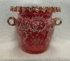 Victorian Vase Cranberry with Gold Trim and Heavy Enameling Possibly Moser