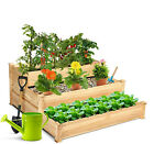 3Tier Raised Garden Bed Wood Elevated Planter Box Vegetable Flower Growing Bed