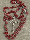 ANTIQUE VICTORIAN STERLING SILVER RED CUT GLASS BEADED ROSARY ITALY