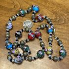 VNTG LONG MULTI COLORED MURANO WEDDING CAKE ART GLASS BEAD NECKLACE 30 ITALY