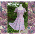 Vintage 50s 60s Pearl Beading Sequin Lilac Silk Dress Satin Cord Piping Detail