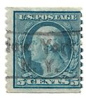 1914 US Stamp 447 Perf10 Vertically 5 Cent Blue USED Scott Value 100