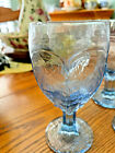 8 Blue WATER GLASS GOBLETS 6 1 2