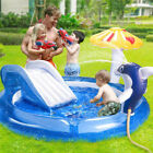 Inflatable Play Center Kids Pool with Slide for Garden Backyard Water Park