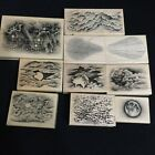 Stampscapes LOT of 10 MOON Clouds SKY Sun STAR Birth RAY Tonal Applicator Rubber
