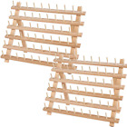 SAND MINE Wooden Thread Rack Sewing and Embroidery Thread Holder 60 Spools 2 P