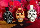 Lot of 3 EMPTY KAH TEQUILA 50 ML Hand Painted Skull Head Bottles Free Shipping