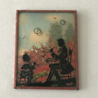 Antique Silhouette Bubble Glass Art Painting Father and Child Blowing Bubbles
