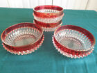 4 Flash glass RUBY gold DIAMOND POINT BOWLS iridescent Vintage Indiana