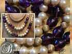 Vintage Gripoix Amethyst Glass Costume Pearl Long Strand Necklace
