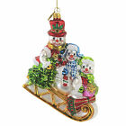 Huras Together Forever Snow Family Glass Ornameny Mom Dad Brother Sled S420