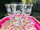 3 Vtg Williams Sonoma Crystal Etched Yellow Base Water Wine Goblets Disc Glass