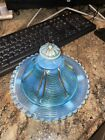 Northwood Glass Opalescent Blue Drapery Butter Dish