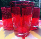 3 Hand Blown Ruby Red Double Old Fashioned Tumbler Rough Pontil Air Bubble Glass