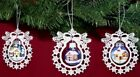 Winter Scene Blue Glass Ball and German Lace Christmas Tree Ornament Set of 3