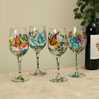 Painted Butterfly Stem Wine Glasses 89 H set 4 GE 2479980