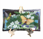 Peggy Carr Fused Art Glass Floral Butterfly Tray signed