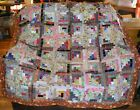 QUILT TOP SCRAPPY Log Cabins Multitude of Colors of 1 1 2 Strips 58 Sq 0925B