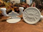 Two Vintage Fenton daisy and button pattern milk glass double candle holders