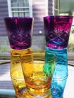 5 Bohemian Czech Old Fashioned Glass Cut To Clear Multicolored Tumblers Bar Set