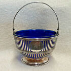 Antique English Sterling Silver Nut Candy Bowl with Cobalt Blue Glass Insert