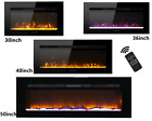 Electric Fireplace Wall Mounted Free Standing with Artificial Log Crystal Stone