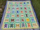 VINTAGE HAND STITCHED 8 POINT STAR PATCHWORK QUILT TOP LARGE