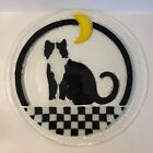 Peggy Karr Fused Glass Tuxedo Cat Crescent Moon 14 Platter Excellent Condition