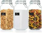 78oz Glass Food Storage Jars with Airtight Clamp Lids 3 Pack Large Kitchen