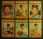 1962 topps Mickey Mantle ALL-STAR Lot 6 CARDS Inc VGEX+