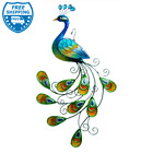 Peacock Metal Glass Art Lively Wall Decor Indoor Garden Stake Blue 24 for Gift