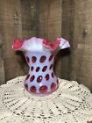 FENTON CRANBERRY OPALESCENT COIN DOT 6 1 4 VASE w 6 1 2 RUFFLED TOP