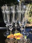 5 Spiegelau Crystal Undine Fluted Champagne Glasses Gray Cut Dots Goblets