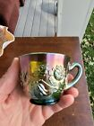 Fenton Green Carnival Glass Wreath of Roses Punch Cup Vintage Interior