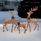 Set Of 3 Light Up Deer Family Rattan Look Holiday Christmas Outdoor Decoration