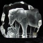 Mats Jonasson Signed Etched Art Glass Lead Crystal Elephant  Baby 2725 4000
