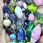 Vintage Murano Venetian Art Glass Necklace Colorful Shapes  Sizes 36