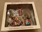 Fitz and Floyd Holiday Treasures Blown Glass Christmas Ornaments Set of 3 Jack