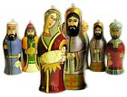 Nativity Russian Set of 7 Christmas Hand Painted Figurines Ornaments Wooden