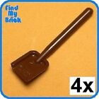 U002A x4 Lego Minifigure Utensil - Shovel - Brown - NEW