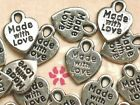 24pc MADE WITH LOVE Silver Charms Scrapbook Card Craft